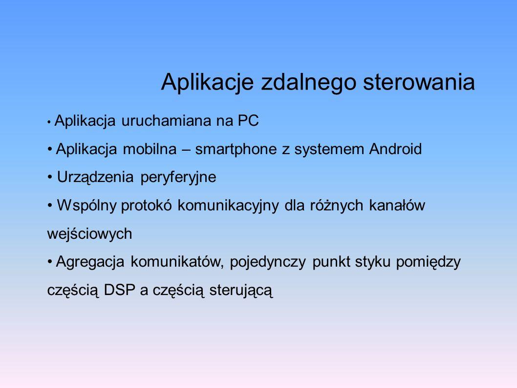 Aplikacje zdalnego sterowania Aplikacja uruchamiana na PC Aplikacja mobilna – smartphone z systemem Android Urządzenia peryferyjne Wspólny protokó kom