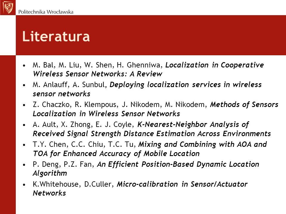 Literatura M. Bal, M. Liu, W. Shen, H. Ghenniwa, Localization in Cooperative Wireless Sensor Networks: A Review M. Anlauff, A. Sunbul Deploying locali