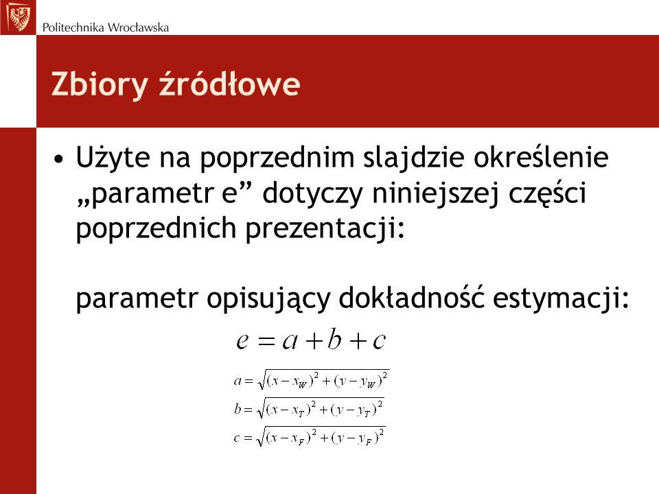 Zbiory źródłowe Użyte na poprzednim slajdzie określenie parametr e dotyczy niniejszej części poprzednich prezentacji: parametr opisujący dokładność es