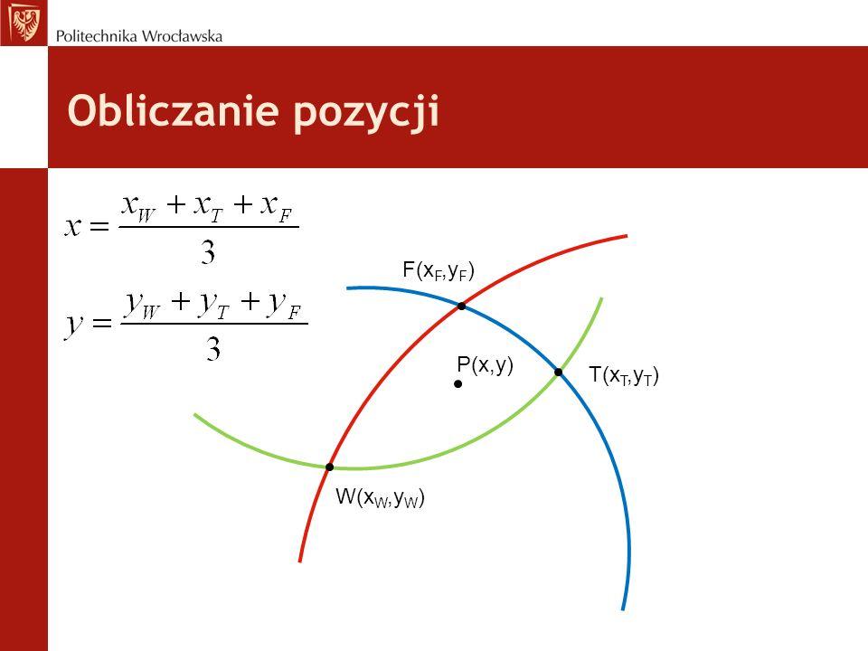 Obliczanie pozycji P(x,y) W(x W,y W ) T(x T,y T ) F(x F,y F )