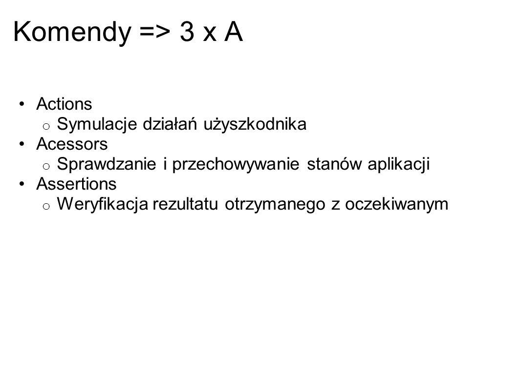 Komendy => 3 x A Actions o Symulacje działań użyszkodnika Acessors o Sprawdzanie i przechowywanie stanów aplikacji Assertions o Weryfikacja rezultatu