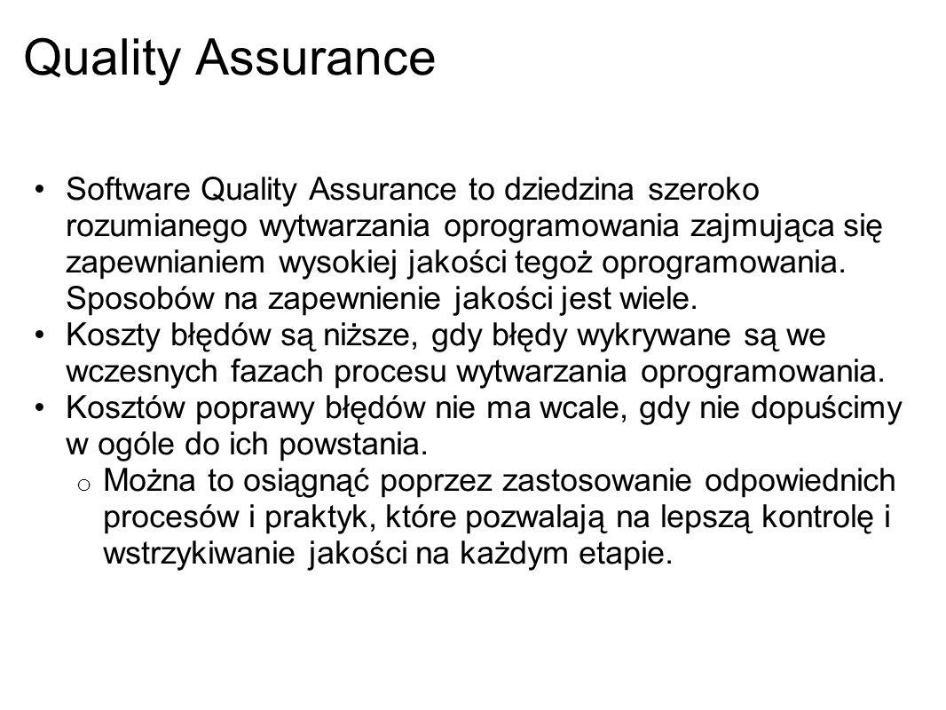 Quality Assurance Software Quality Assurance to dziedzina szeroko rozumianego wytwarzania oprogramowania zajmująca się zapewnianiem wysokiej jakości t