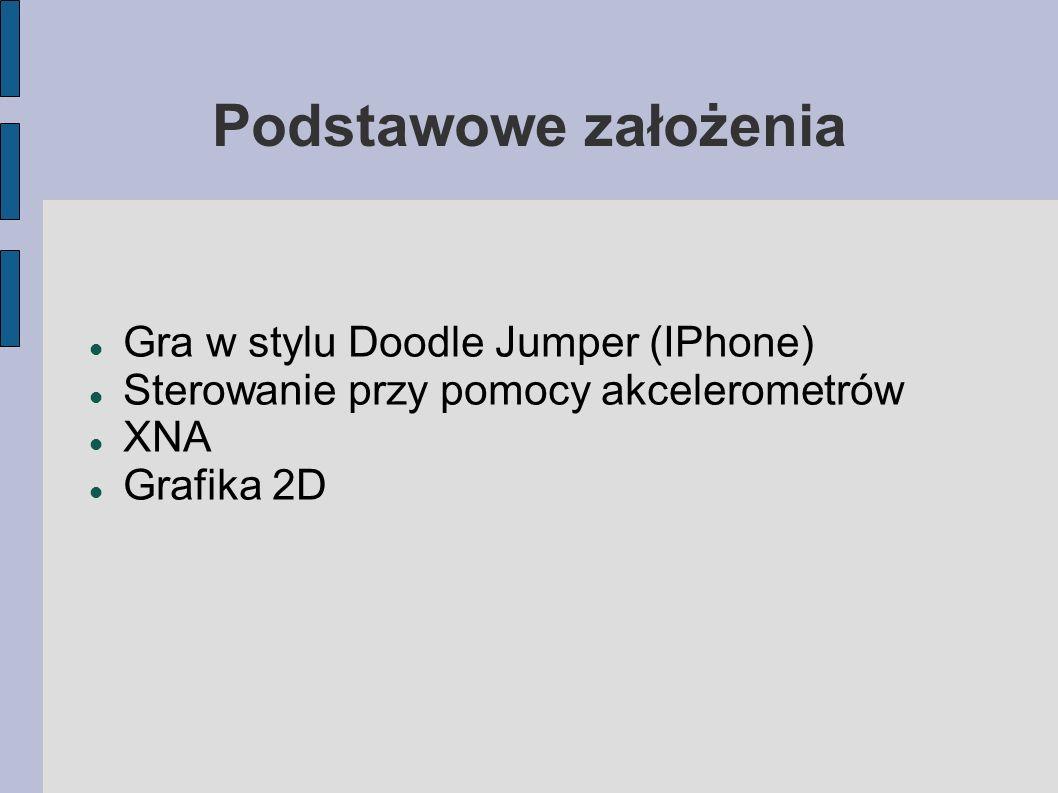 Podstawowe założenia Gra w stylu Doodle Jumper (IPhone) Sterowanie przy pomocy akcelerometrów XNA Grafika 2D