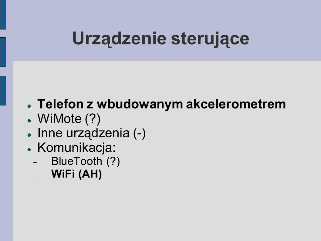 Urządzenie sterujące Telefon z wbudowanym akcelerometrem WiMote (?) Inne urządzenia (-) Komunikacja: BlueTooth (?) WiFi (AH)