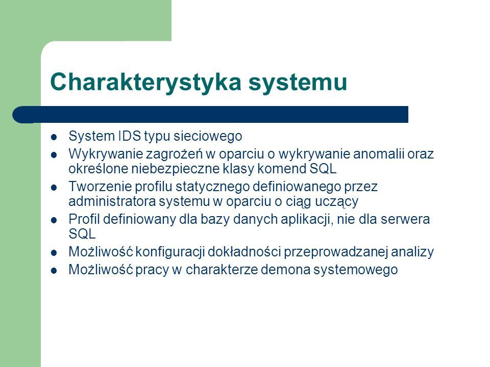 Charakterystyka systemu System IDS typu sieciowego Wykrywanie zagrożeń w oparciu o wykrywanie anomalii oraz określone niebezpieczne klasy komend SQL T