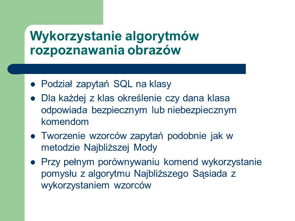 Przykłady niebezpiecznych zapytań SQL SELECT * FROM eif_user WHERE name = login_uzytkownika LIMIT 1 SELECT * FROM eif_user WHERE name = login_uzytkownika ; DELETE FROM eif_profile;-- LIMIT 1 SELECT * FROM eif_user WHERE name = login_uzytkownika OR 1=1;-- LIMIT 1 SELECT * FROM eif_user WHERE name = login_uzytkownika AND 1/0=1;-- LIMIT 1 SELECT * FROM eif_user WHERE name = login_uzytkownika AND (SELECT count(*) FROM eis_permission)=1;-- LIMIT 1 SELECT * FROM eif_user WHERE name = login_uzytkownika AND (select count(*) from eif_user where name = admin and pass = 098f6bcd4621d373cade4e832627b4f8 )=1 ;-- LIMIT 1