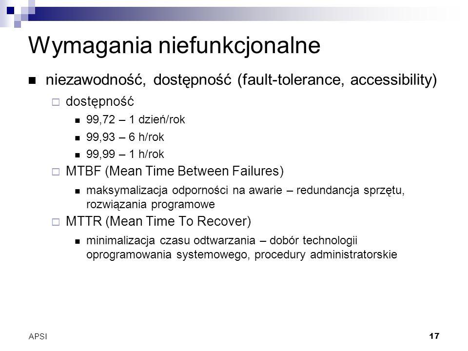 APSI17 Wymagania niefunkcjonalne niezawodność, dostępność (fault-tolerance, accessibility) dostępność 99,72 – 1 dzień/rok 99,93 – 6 h/rok 99,99 – 1 h/rok MTBF (Mean Time Between Failures) maksymalizacja odporności na awarie – redundancja sprzętu, rozwiązania programowe MTTR (Mean Time To Recover) minimalizacja czasu odtwarzania – dobór technologii oprogramowania systemowego, procedury administratorskie