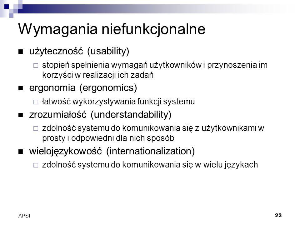 APSI23 Wymagania niefunkcjonalne użyteczność (usability) stopień spełnienia wymagań użytkowników i przynoszenia im korzyści w realizacji ich zadań ergonomia (ergonomics) łatwość wykorzystywania funkcji systemu zrozumiałość (understandability) zdolność systemu do komunikowania się z użytkownikami w prosty i odpowiedni dla nich sposób wielojęzykowość (internationalization) zdolność systemu do komunikowania się w wielu językach