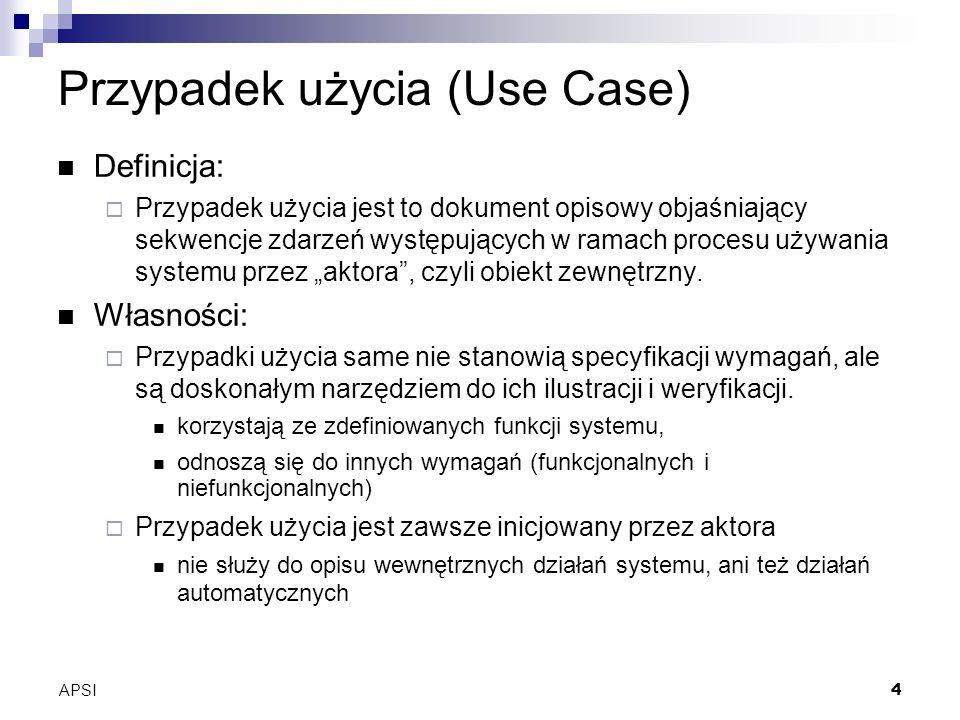 APSI4 Przypadek użycia (Use Case) Definicja: Przypadek użycia jest to dokument opisowy objaśniający sekwencje zdarzeń występujących w ramach procesu używania systemu przez aktora, czyli obiekt zewnętrzny.