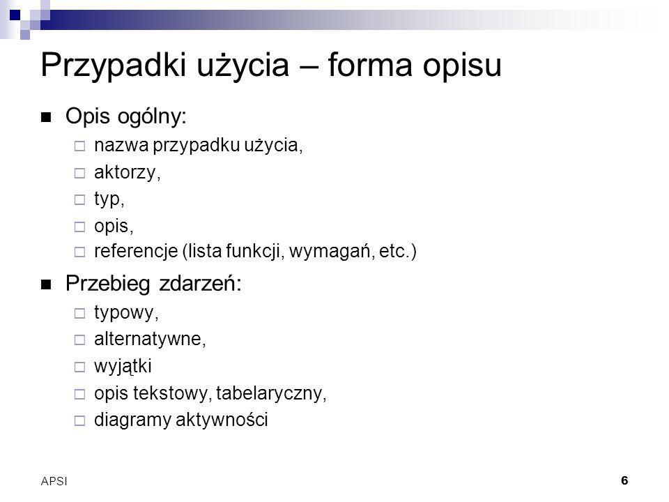 APSI6 Przypadki użycia – forma opisu Opis ogólny: nazwa przypadku użycia, aktorzy, typ, opis, referencje (lista funkcji, wymagań, etc.) Przebieg zdarzeń: typowy, alternatywne, wyjątki opis tekstowy, tabelaryczny, diagramy aktywności
