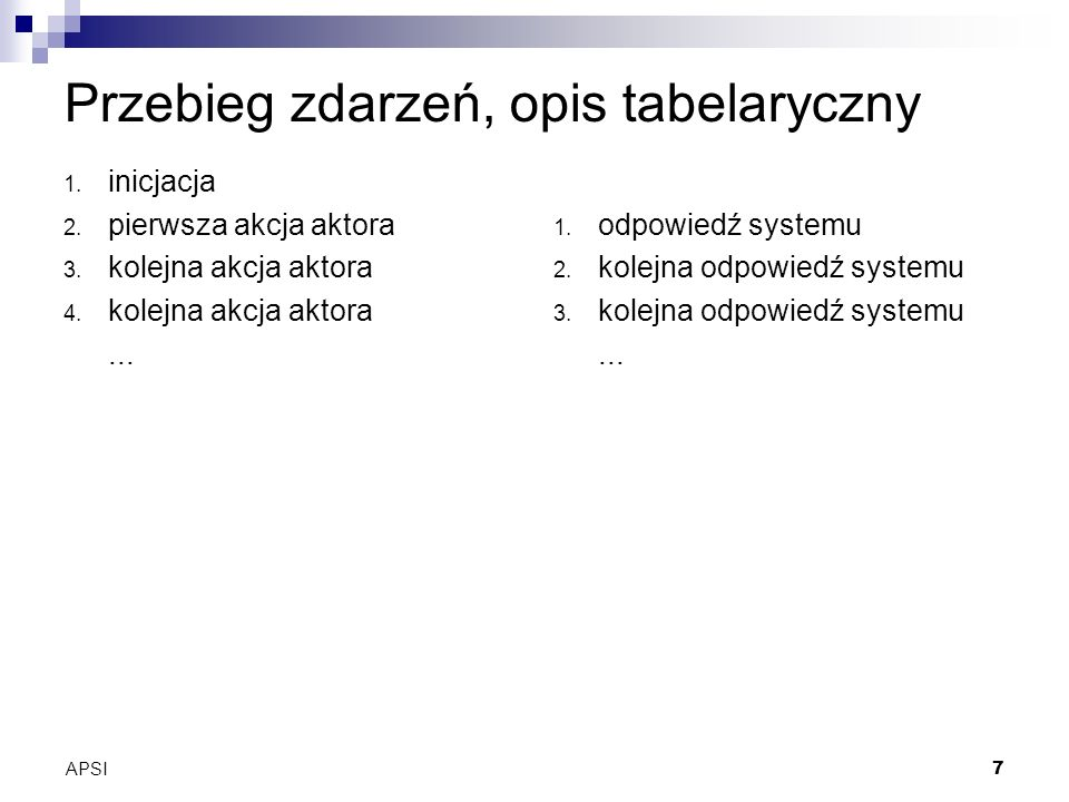 APSI7 Przebieg zdarzeń, opis tabelaryczny 1. inicjacja 2.