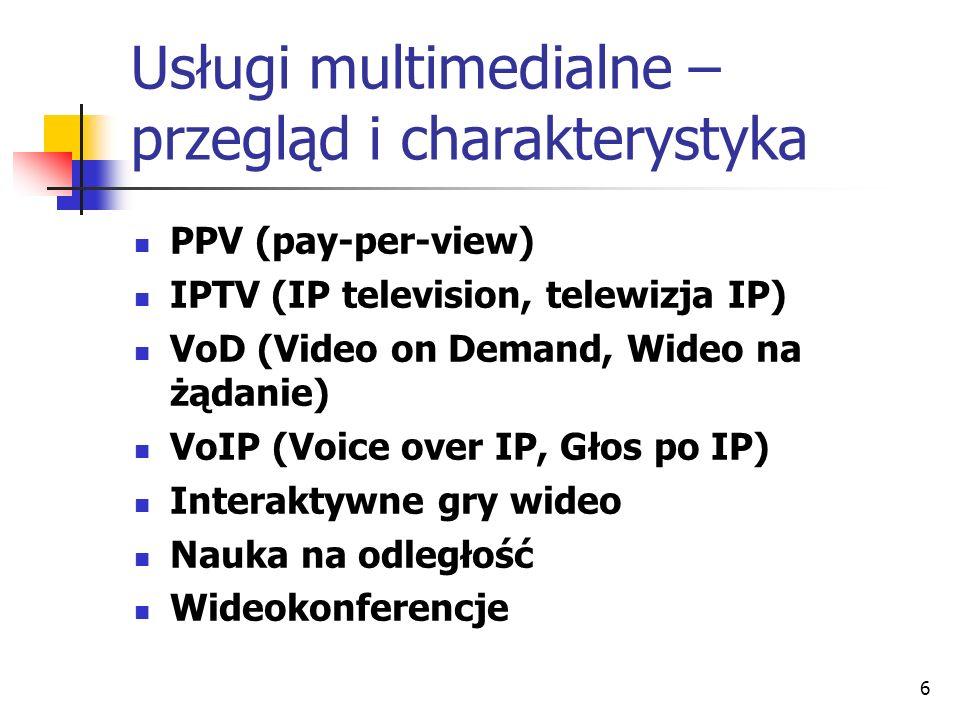 6 Usługi multimedialne – przegląd i charakterystyka PPV (pay-per-view) IPTV (IP television, telewizja IP) VoD (Video on Demand, Wideo na żądanie) VoIP