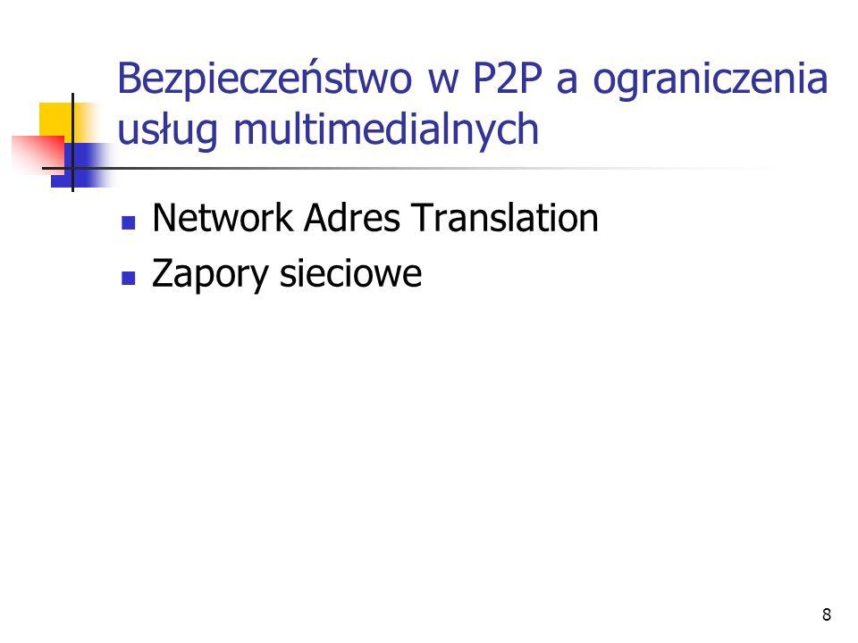 8 Bezpieczeństwo w P2P a ograniczenia usług multimedialnych Network Adres Translation Zapory sieciowe