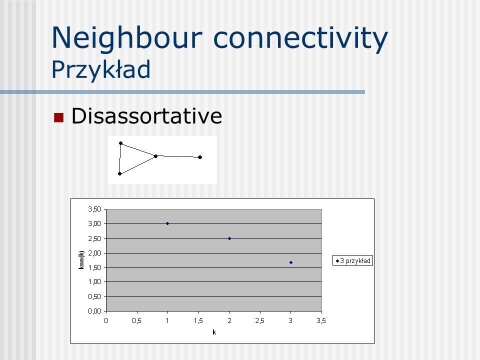 Neighbour connectivity Przykład Disassortative