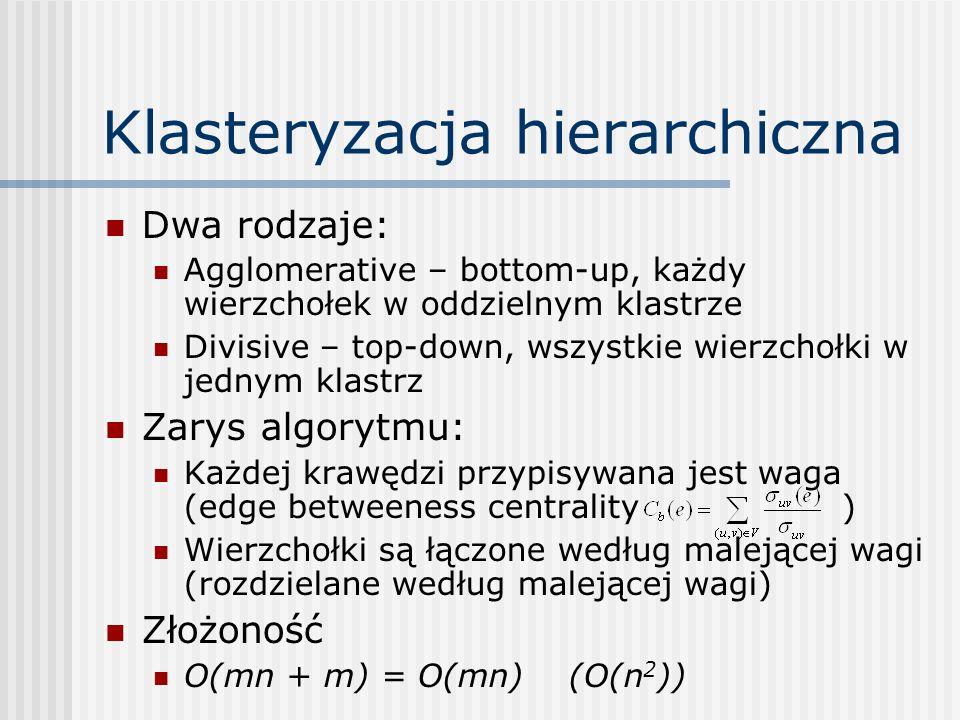 Klasteryzacja hierarchiczna Dwa rodzaje: Agglomerative – bottom-up, każdy wierzchołek w oddzielnym klastrze Divisive – top-down, wszystkie wierzchołki