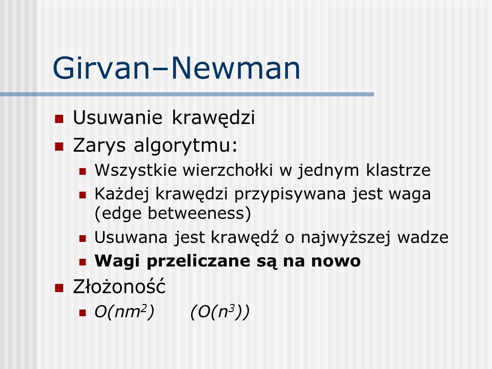 Girvan–Newman Usuwanie krawędzi Zarys algorytmu: Wszystkie wierzchołki w jednym klastrze Każdej krawędzi przypisywana jest waga (edge betweeness) Usuw
