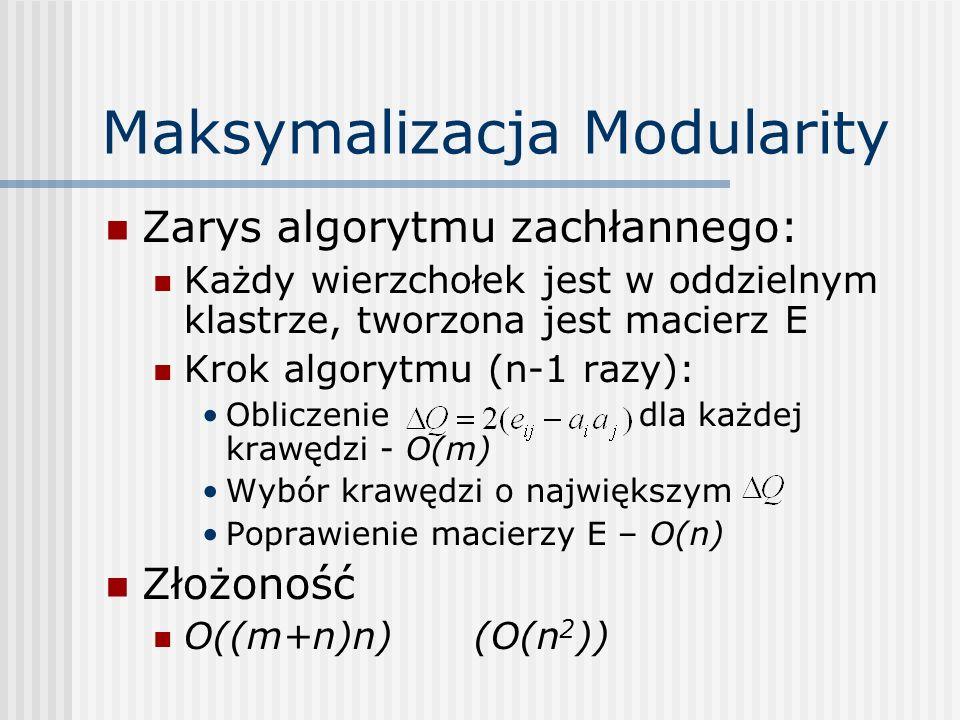 Maksymalizacja Modularity Zarys algorytmu zachłannego: Każdy wierzchołek jest w oddzielnym klastrze, tworzona jest macierz E Krok algorytmu (n-1 razy)