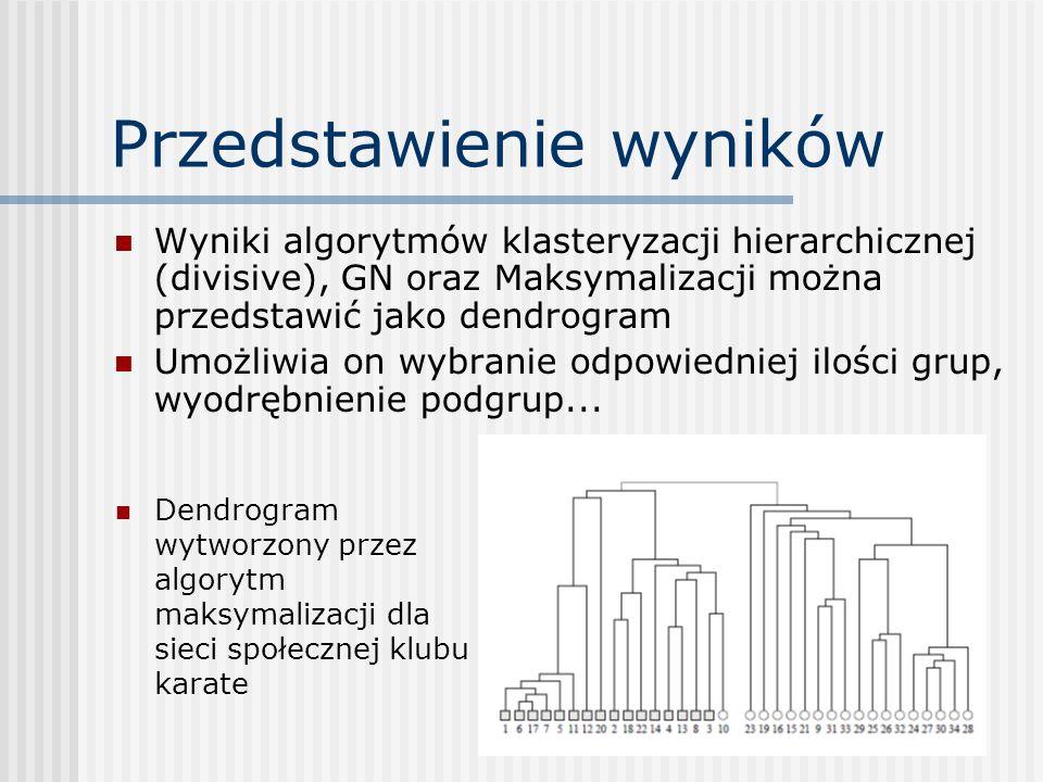 Przedstawienie wyników Wyniki algorytmów klasteryzacji hierarchicznej (divisive), GN oraz Maksymalizacji można przedstawić jako dendrogram Umożliwia o