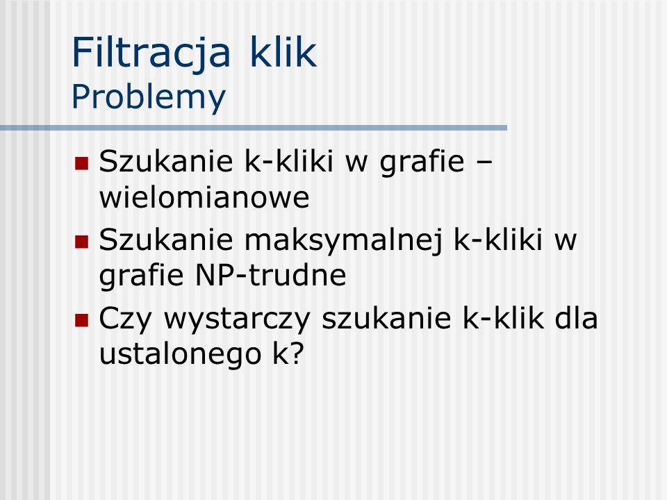 Filtracja klik Problemy Szukanie k-kliki w grafie – wielomianowe Szukanie maksymalnej k-kliki w grafie NP-trudne Czy wystarczy szukanie k-klik dla ust