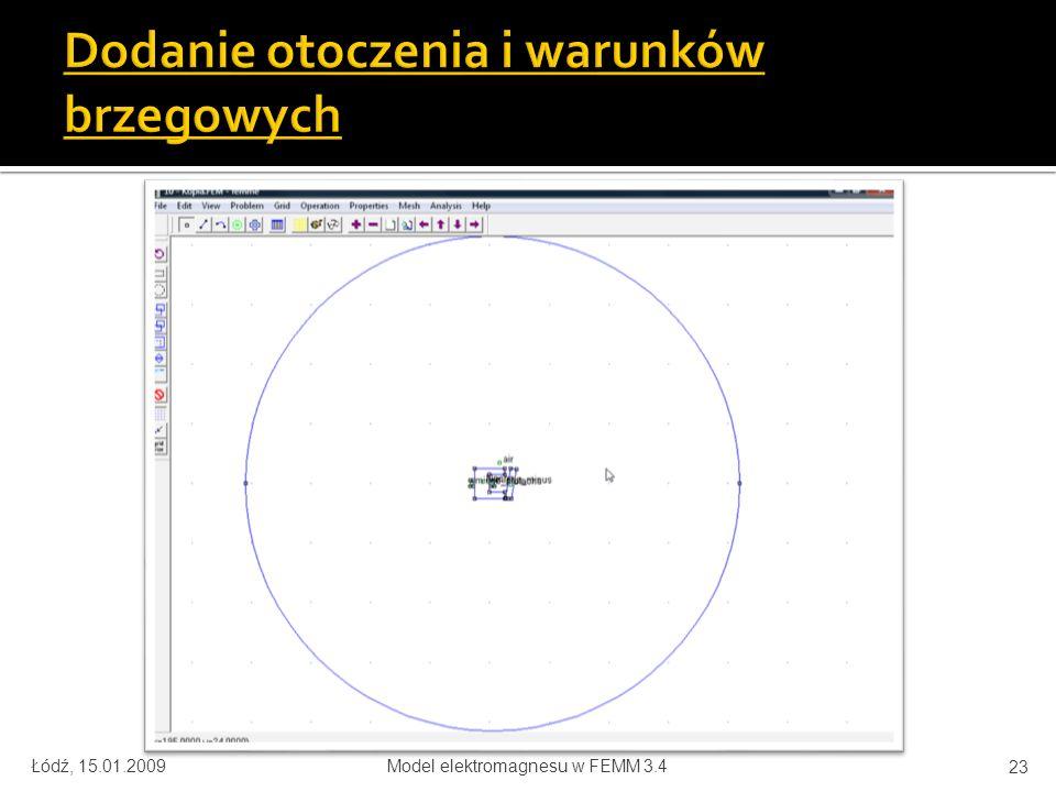 Łódź, 15.01.2009Model elektromagnesu w FEMM 3.4 23