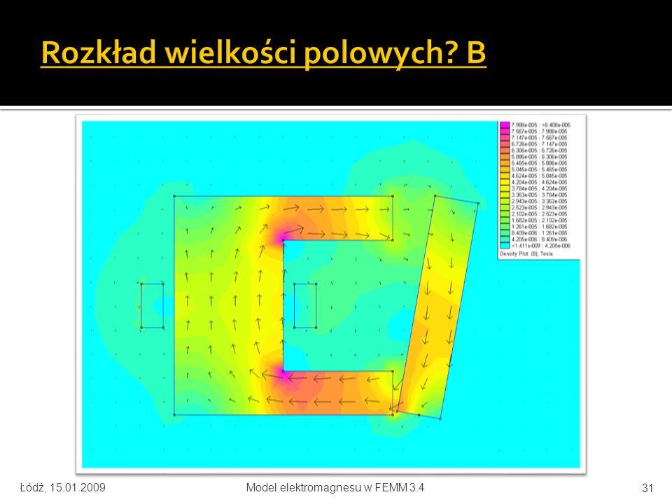 Łódź, 15.01.2009Model elektromagnesu w FEMM 3.4 31