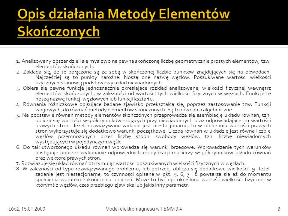 Łódź, 15.01.2009Model elektromagnesu w FEMM 3.4 27