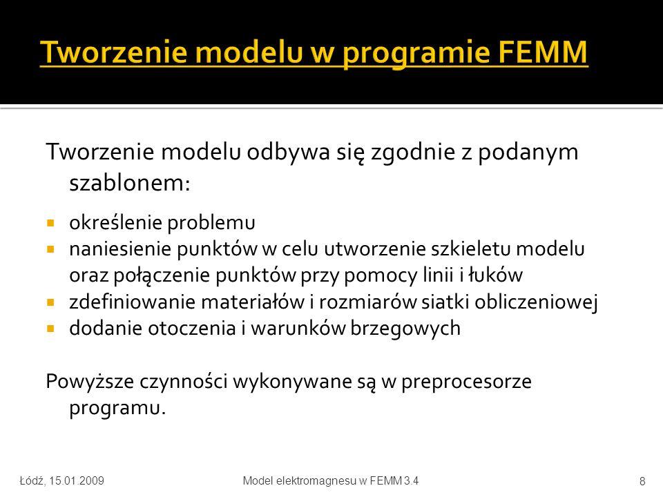 Łódź, 15.01.2009Model elektromagnesu w FEMM 3.4 29