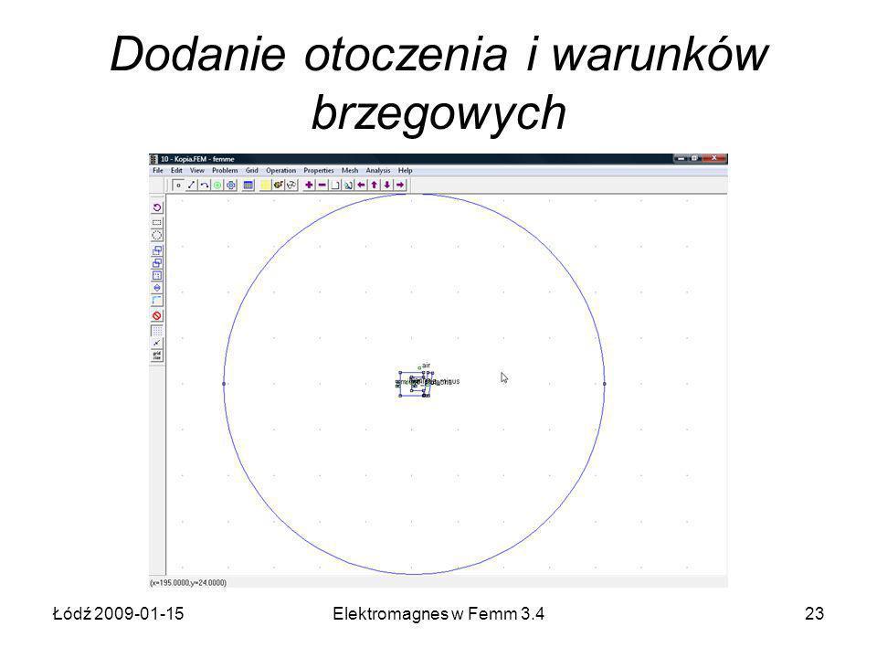Łódź 2009-01-15Elektromagnes w Femm 3.423 Dodanie otoczenia i warunków brzegowych