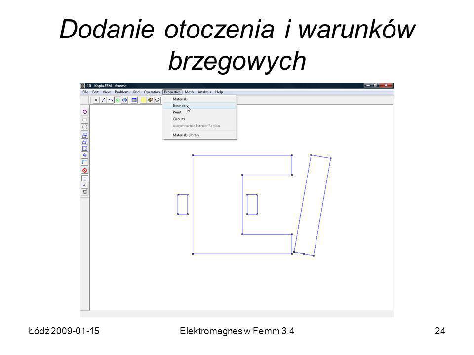 Łódź 2009-01-15Elektromagnes w Femm 3.424 Dodanie otoczenia i warunków brzegowych