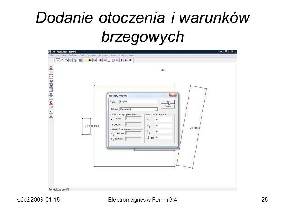 Łódź 2009-01-15Elektromagnes w Femm 3.425 Dodanie otoczenia i warunków brzegowych