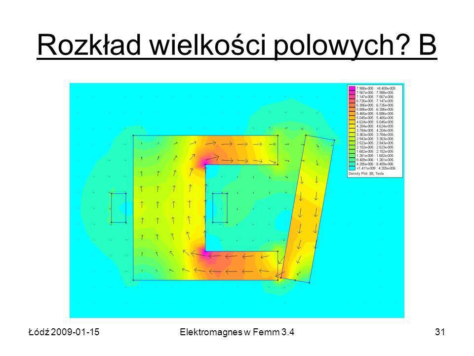 Łódź 2009-01-15Elektromagnes w Femm 3.431 Rozkład wielkości polowych B