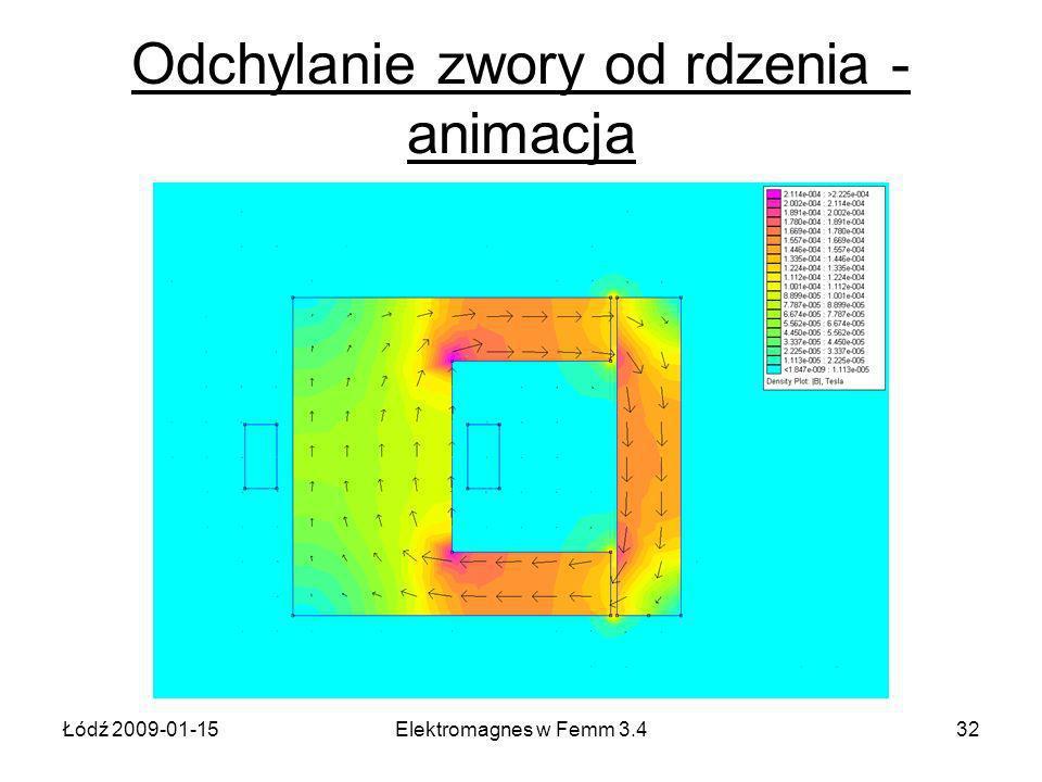 Łódź 2009-01-15Elektromagnes w Femm 3.432 Odchylanie zwory od rdzenia - animacja