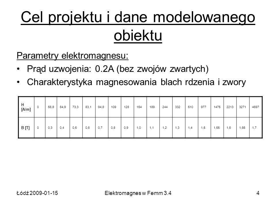 Łódź 2009-01-15Elektromagnes w Femm 3.44 Cel projektu i dane modelowanego obiektu Parametry elektromagnesu: Prąd uzwojenia: 0.2A (bez zwojów zwartych) Charakterystyka magnesowania blach rdzenia i zwory H [A/m] 056,864,973,383,194,81091281541892443325109771475221332714697 B [T] 00,30,40,50,60,70,80,91,01,11,21,31,41,51,551,61,651,7