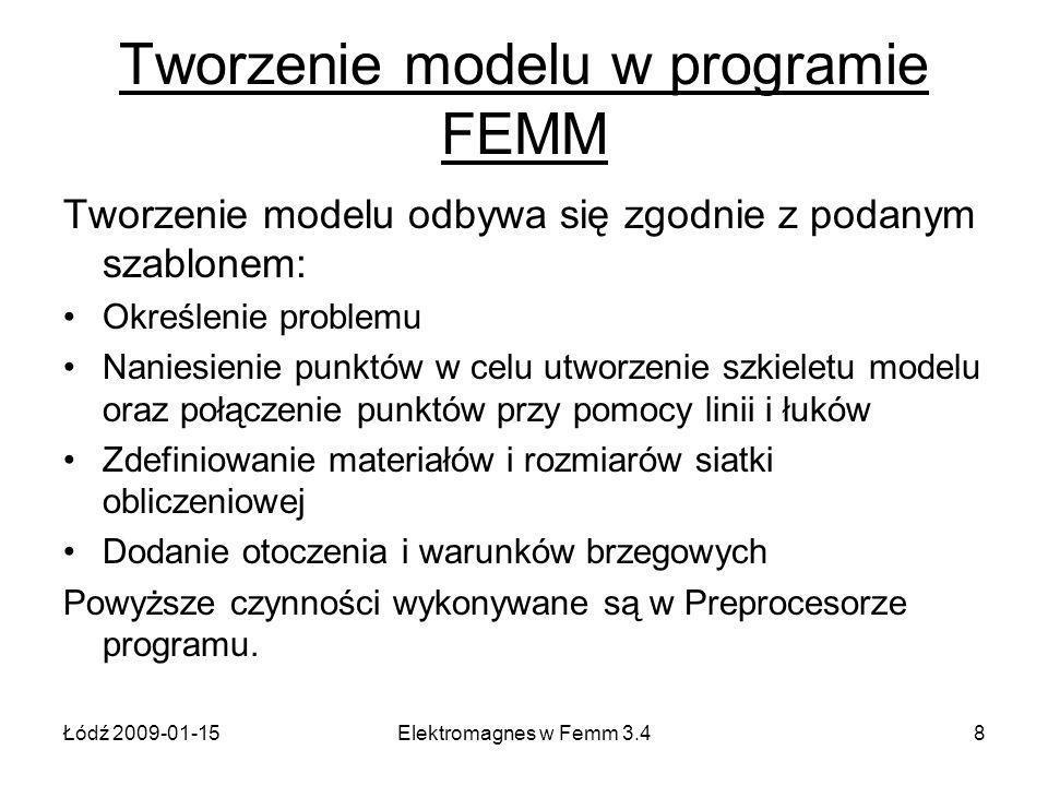 Łódź 2009-01-15Elektromagnes w Femm 3.48 Tworzenie modelu w programie FEMM Tworzenie modelu odbywa się zgodnie z podanym szablonem: Określenie problemu Naniesienie punktów w celu utworzenie szkieletu modelu oraz połączenie punktów przy pomocy linii i łuków Zdefiniowanie materiałów i rozmiarów siatki obliczeniowej Dodanie otoczenia i warunków brzegowych Powyższe czynności wykonywane są w Preprocesorze programu.
