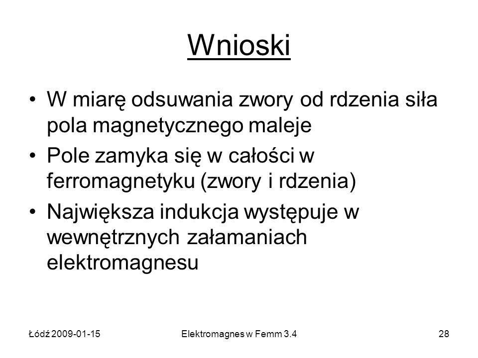Łódź 2009-01-15Elektromagnes w Femm 3.428 Wnioski W miarę odsuwania zwory od rdzenia siła pola magnetycznego maleje Pole zamyka się w całości w ferrom