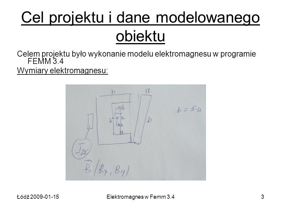 Łódź 2009-01-15Elektromagnes w Femm 3.43 Cel projektu i dane modelowanego obiektu Celem projektu było wykonanie modelu elektromagnesu w programie FEMM