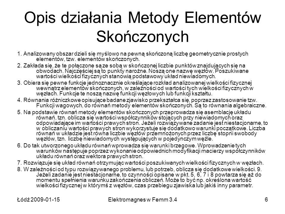 Łódź 2009-01-15Elektromagnes w Femm 3.47 Opis działania Metody Elementów Skończonych Programy komputerowe, w których stosowana jest metoda elementów skończonych składają się natomiast z trzech zasadniczych części: 1.