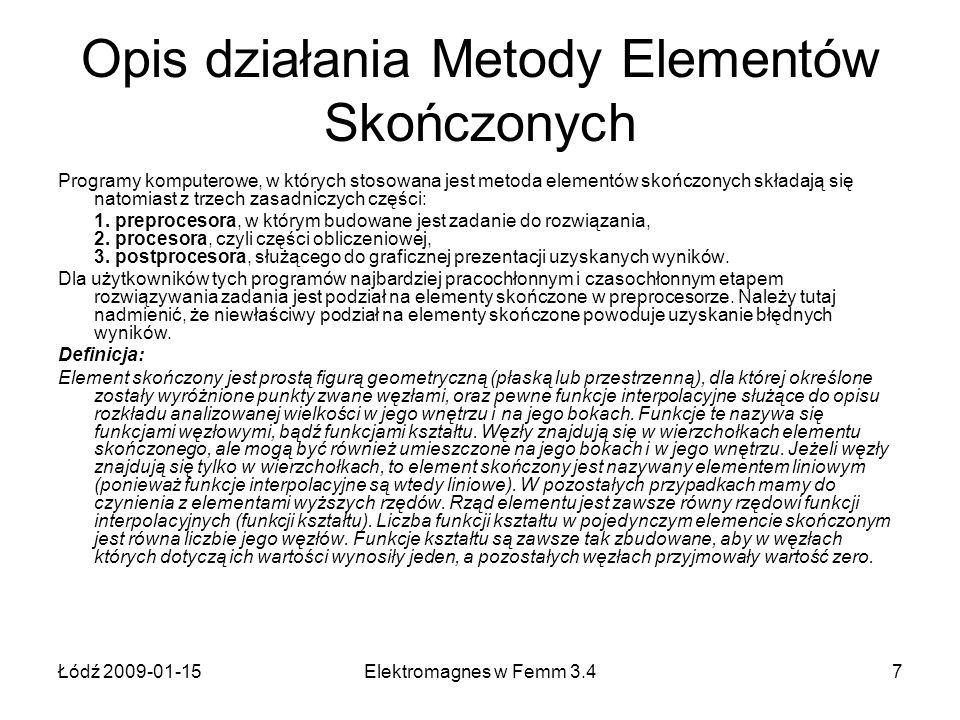 Łódź 2009-01-15Elektromagnes w Femm 3.47 Opis działania Metody Elementów Skończonych Programy komputerowe, w których stosowana jest metoda elementów s
