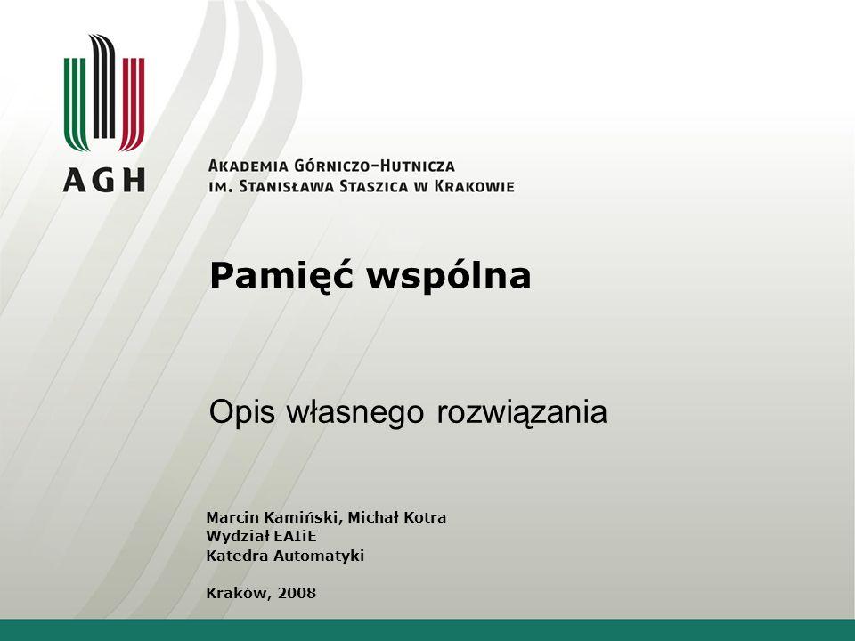 Pamięć wspólna Opis własnego rozwiązania Marcin Kamiński, Michał Kotra Wydział EAIiE Katedra Automatyki Kraków, 2008