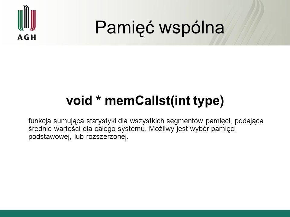 Pamięć wspólna void * memCallst(int type) funkcja sumująca statystyki dla wszystkich segmentów pamięci, podająca średnie wartości dla całego systemu.