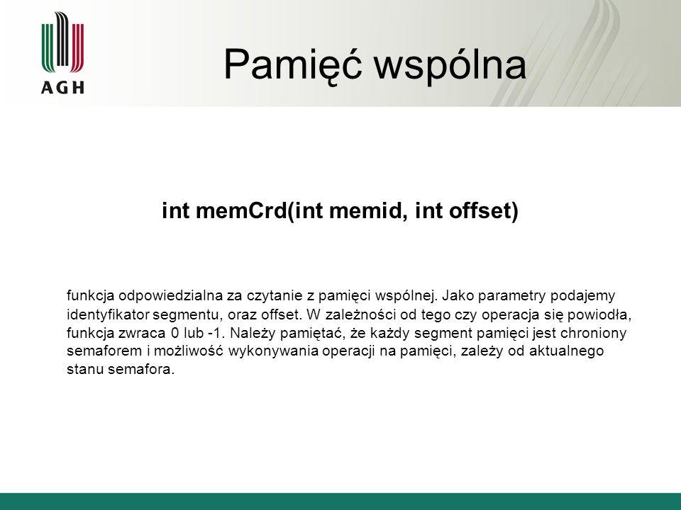 Pamięć wspólna void memCblk(int memid) funkcja blokuje wskazany segment pamięci, uniemożliwiając dostęp, aż do chwili gdy segment zostanie odblokowany za pomocą memCulk() void memCulk(int memid) funkcja odblokowuje wskazany segment pamięci, do którego dostęp został wcześniej zablokowany funkcją memCblk()