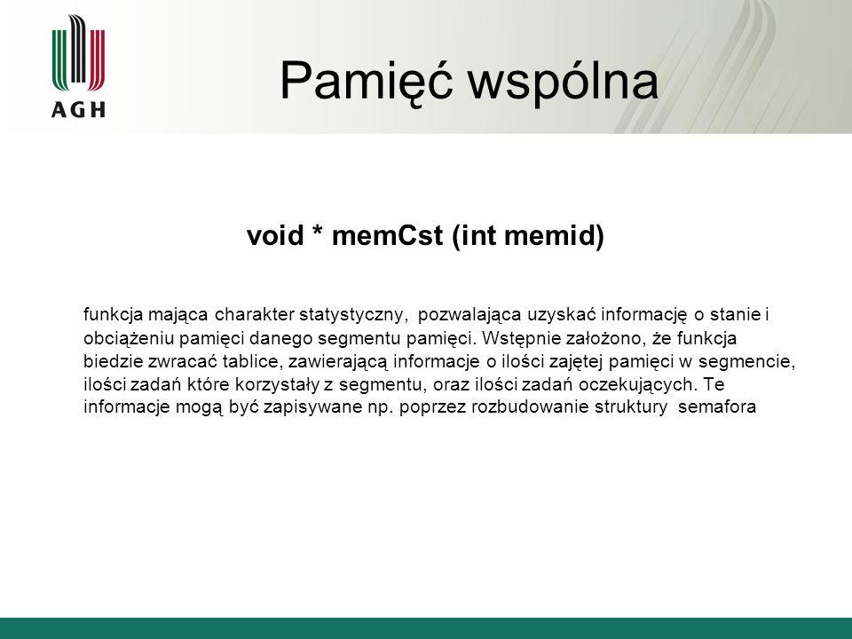 Pamięć wspólna void * memCst (int memid) funkcja mająca charakter statystyczny, pozwalająca uzyskać informację o stanie i obciążeniu pamięci danego se