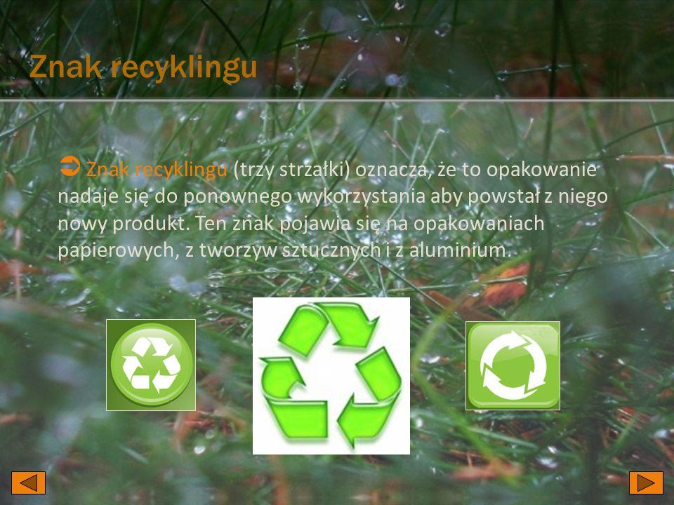 Znak recyklingu Znak recyklingu (trzy strzałki) oznacza, że to opakowanie nadaje się do ponownego wykorzystania aby powstał z niego nowy produkt. Ten