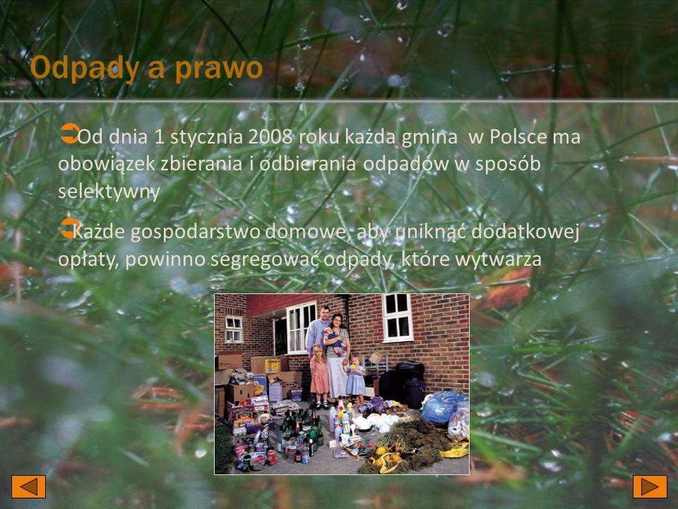 Odpady a prawo Od dnia 1 stycznia 2008 roku każda gmina w Polsce ma obowiązek zbierania i odbierania odpadów w sposób selektywny Każde gospodarstwo do