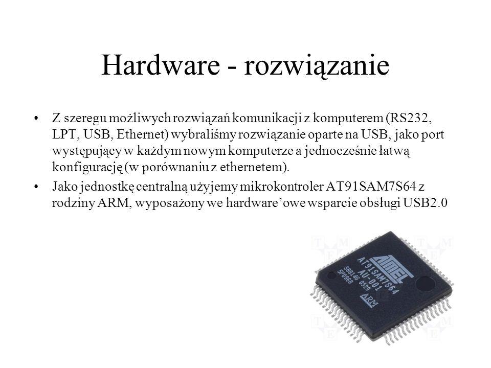 Hardware - rozwiązanie Z szeregu możliwych rozwiązań komunikacji z komputerem (RS232, LPT, USB, Ethernet) wybraliśmy rozwiązanie oparte na USB, jako p