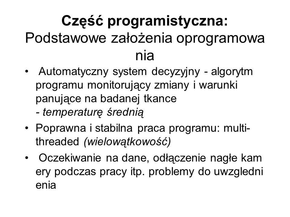 Część programistyczna: Podstawowe założenia oprogramowa nia Automatyczny system decyzyjny - algorytm programu monitorujący zmiany i warunki panujące n