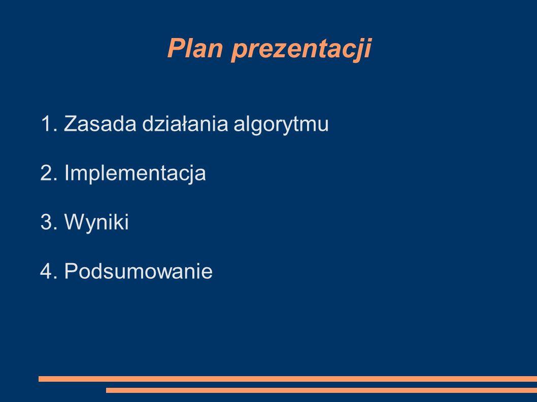Plan prezentacji 1. Zasada działania algorytmu 2. Implementacja 3. Wyniki 4. Podsumowanie