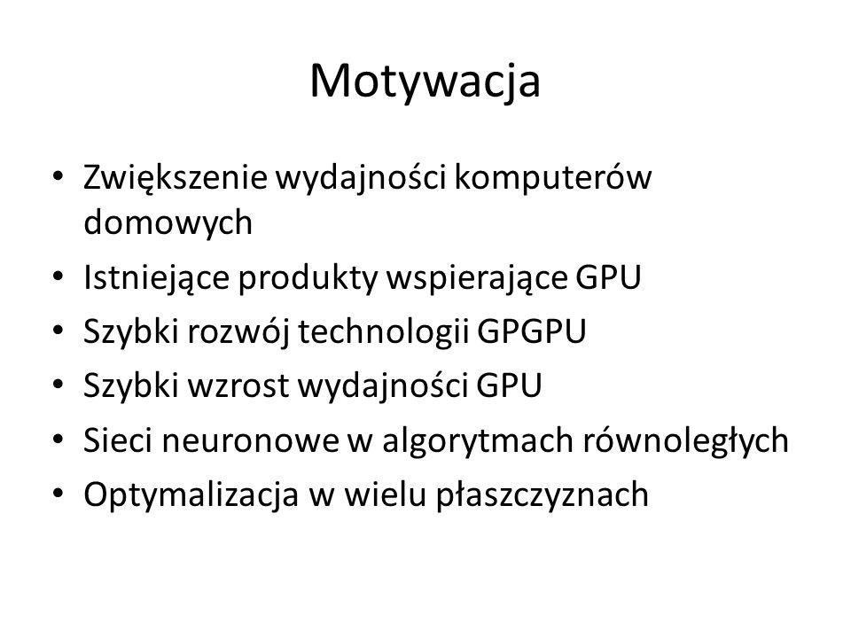 Motywacja Zwiększenie wydajności komputerów domowych Istniejące produkty wspierające GPU Szybki rozwój technologii GPGPU Szybki wzrost wydajności GPU