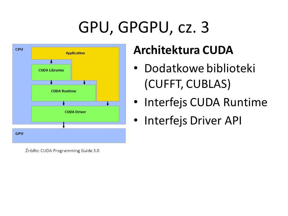 GPU, GPGPU, cz. 3 Architektura CUDA Dodatkowe biblioteki (CUFFT, CUBLAS) Interfejs CUDA Runtime Interfejs Driver API Źródło: CUDA Programming Guide 3.