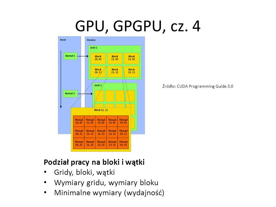 Podział pracy na bloki i wątki Gridy, bloki, wątki Wymiary gridu, wymiary bloku Minimalne wymiary (wydajność) GPU, GPGPU, cz. 4 Źródło: CUDA Programmi